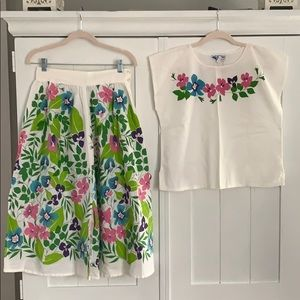 Vintage 1970's (Maybe 80's?) Skirt & Top Set Sz M